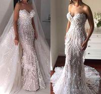 Wholesale Gorgeous Mermaid Beach Wedding Dresses - Gorgeous Overskirts Mermaid Wedding Dresses With Detachable Train Sweetheart 3D Appliques Personalized Wedding Dress 2018 Bridal Gowns
