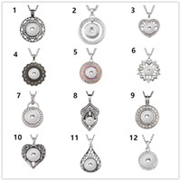 Wholesale noosa necklace diy resale online - Newest Snap jewelry Round Crystal Snap pendant Necklace fit DIY mm Snap Jewelry Noosa Chunk design Free Choose