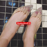 Wholesale Real Leather Ballet Flats - Free shipping fashion pumps nude mesh studded crystal strass point toe wedding bride shoes real photo come with dustbag and box