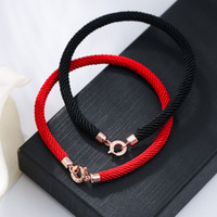 Wholesale S925 Pure Silver - Top Quality S925 Pure silver Clasp Red Rope Women Bracelet in black and red rope women jewelry Brand name Free Shipping PS5288A