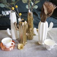 ingrosso vasi di fiori d'oro-Vasi popolari di Cactus vasi di fiori piantatore bar saloon partito decorazioni di nozze bianco / oro Cactus