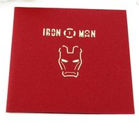 ingrosso carta vendicatori-The Avengers 3D Pop Up Cartoon Biglietto di auguri Buon compleanno Iron Man Carve Paper Movie Cartoline Regalo Keepsake 5 5qh bb