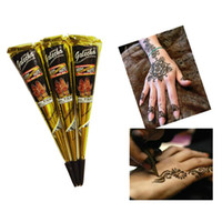 Wholesale black art paintings - Black Indian Henna Tattoo Paste Body Art Paint Mini Natural Henna Paste for Body Drawing Temporary Draw On Body By Yourself