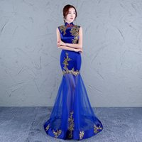 Wholesale laces clothes china resale online - chinese women cheongsam dress traditional chinese wedding gown long oriental blue lace designer clothing china red