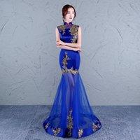 kadın dantel elbise çin toptan satış-çince kadın cheongsam elbise geleneksel çince gelinlik uzun oryantal mavi dantel tasarımcı giyim çin kırmızı