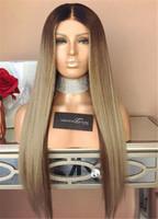 top de seda marrom venda por atacado-Melhor cabelo humano brasileiro Base de Seda cabelo Liso Ombre Brown 1b18 Cor Glueless Perucas Cheias Do Laço Top De Seda Perucas Dianteiras Do Laço
