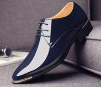 Wholesale shiny black pvc dress - Spring luxury brand Men Shoes shiny Homecoming breathable Designer Wedding Male Oxford Shoes Men Flats Big yards US size : 6.5-13 417