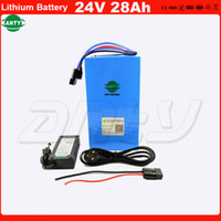 Wholesale ebike 24v - High Capacity 24v 28ah Rechargeable Lithium Battery Built in 50A BMS for 1000w eBike Motor Power with 2A Charger Free Shipping