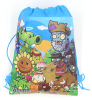 Wholesale plants vs zombies backpacks resale online - 12pcs Kids Favors Non Woven Fabric Plants vs Zombies Drawstring Bag Baby Shower Decoration Birthday Party Gift Backpack Supplies
