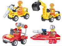Wholesale fire block set for sale - Group buy Construction team Fire rescue Building Blocks Sets Kids toy Bricks gifts