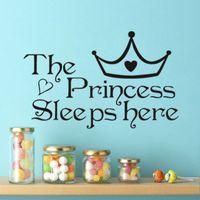 stickers muraux princesse achat en gros de-Home Decor Wall Art Autocollant Étanche La Princesse Imprimer Childrens Room Home Fond Anti Statique Pvc Autocollants 3 2dc jj