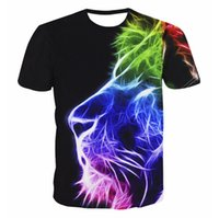 Wholesale male trends - Lion Printing Black T-shirt Male New Trends Fashion Printed Crew Neck T-shirt Size M-6XL