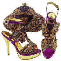 bolso a juego con bombas moradas al por mayor-jzc004 púrpura brillante cristal Nigeria zapatos y bolsa para combinar PU de verano africano con bombas de piedra zapatos y monedero conjunto para mujer
