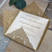 Wholesale Envelopes For Wedding Invitations - Gold invitation card stock with envelopes and insert cards lace laser cut blank invitation cards for grand event
