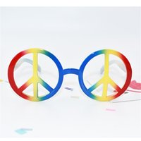 Wholesale funny frames - World Peace Sign Modelling Glasses Party Supplies Decorate Favor Funny Ball Spectacles Frame Rainbow Color Halloween Prop 5sf V