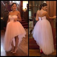 Wholesale High Low Corset Prom Dress - 2018 Sexy Blush Pink High Low Prom Dresses Backless Lace up corset Puffy Train plus size Evening Party Gowns Formal Dress