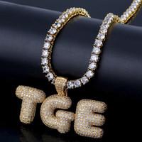 diamantes falsos venda por atacado-A-Z 0 ~ 9 Nome Personalizado Bolha Letras Pingente com 18