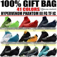 Wholesale Cheap Low Heel Boots - New 2018 High Top Football Boots TF IC Turf Hypervenom Phantom Indoor Soccer Shoes Hypervenom Phantom ACC III FG Neymar Soccer Cleats Cheap