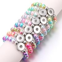 noosa perlen schnappen großhandel-Neue Noosa Snap Schmuck 12 STÜCKE Bunte Perlen Druckknopf Armbänder Elastische Handgemachte Snap Perlen Armband