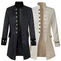 botones steampunk al por mayor-NIBESSER moda Steampunk hombres chaqueta larga chaqueta gótica de manga larga más el tamaño 2018 hombres otoño capa con botón decorativo