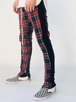 rote plaidhose für männer großhandel-Scotland Plaids Jogger Pants Herren Kleidung Frühling Herbst Schwarz Rot Plaid Lässige Hose FOG Hose
