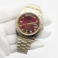 наручные часы мужские оптовых-Новая распродажа День свидания Мужские часы Президент 18-каратное золото Бриллиантовое число Мужские часы Нержавеющая сталь Сапфировое стекло Красное лицо мужские часы
