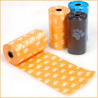 Wholesale dog bags roll - 3 Rolls=60pcs Dog Poop Bag Footprint Plastic Garbage Bags for Pet Dot Cat Waste Pick Up Hotel Home Clean dog pooper scooper bag