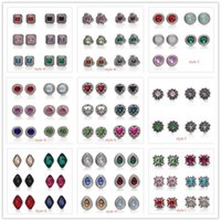 Wholesale hook ring clasp - Noosa Chunks Ginger Snap Jewelry Rhinestone Round Triangle 12mm Snap Button for 12MM DIY Snap Button Bracelet Earrings Ring