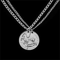 moneda de los hombres al por mayor-1 Unidades Dos Caballos Amante Collares pendientes Moneda Charm Collar de plata de las mujeres de los hombres parejas Mejor Amigo Regalos