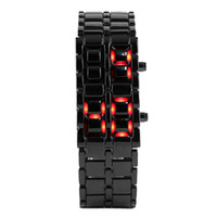 Wholesale metal display hooks - Fashion Black Full Metal Digital Lava Wrist Watch Iron Metal Red LED Samurai for Men Boy Sport Simple Watches