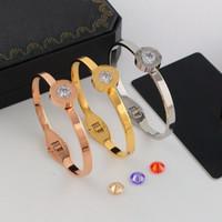 bracelet en diamant uni achat en gros de-L'Europe et les États-Unis peuvent remplacer le bracelet de diamants en cristal unique. Bracelet en or rose de 18 carats. Acier acier au titane