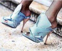 Wholesale Camouflage Dresses Plus Size - Summer 2017 Catwalk Women High Heel Sandals Big Bowtie Designer Dress Party Shoes Summer Satin Stilettos Slides Brand Plus Size EU35-43
