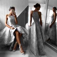 Wholesale grey evening gown jacket - Steel Grey Hi-Lo Prom Dress Fashion Neckline Lace Applique Sleeveless Zipper Backless Party Dress Elegant A-line Pretty Women Evening Gowns