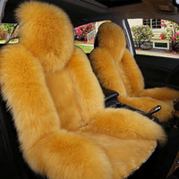 passt pelz großhandel-Winter Warm Auto Vordersitzbezüge Lange Wolle Kunstpelz Universal Fit SUV Limousinen Stuhlkissen Kissen Rutschfeste Atmungsaktive