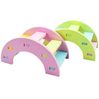 juguetes físicos al por mayor-Hamster Toys Rainbow Bridge Guinea Pig Hamster Juguete de madera Juguetes de entrenamiento físico Juguetes para mascotas pequeños 12 * 7 * 6 cm