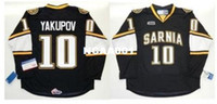 Wholesale yakupov jersey resale online - Real Men real Full embroidery OHL Sarnia Sting Jersey Alex Galchenyuk Nail Yakupov Hockey Jersey or custom any name or number Jersey