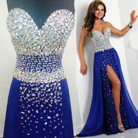 mavi elmas gerçek toptan satış-Bling Kraliyet Mavi Gelinlik Modelleri Gerçek Resimler Sevgiliye Kristal Abiye giyim Yüksek Yarık 2019 Yeni Boncuklu Vestidos Diamonds