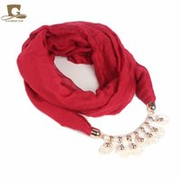 Wholesale metal charm scarf - Women Fashion Scarf Plastic Pearls Shell Round Metal Neck Pendant Hijab Jewelry Necklace Wrap Solid Color Noble Grace 11 8gf Hh
