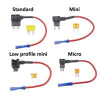 añadir autos al por mayor-Portafusibles con un circuito de adición Micro / Mini / Bajo perfil Mini / Estándar ATM APM Cuchilla Macho Adaptador doble Fusible de automóvil automático con soporte