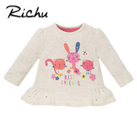 Wholesale top neck patterns blouse - Richu new arrivals classic long sleeve t-shirt girls baby kids tops clothes for girls children blouse pattern toddler costume Made In China