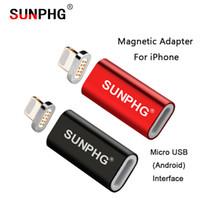 micro mini manzana al por mayor-SUNPHG Conector de Carga Magnética Para Apple phone 7 8 X Para iOS Protección Micro Mini Android Adaptador USB Gran Imán Convertidor Plug