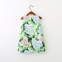 Wholesale wholesale dress plant - Girls Dress Kids Clothes sleeveless dress O-neck Euro Girl Children Grenn Plant flower print princess Dresses Baby & Kids Clothing