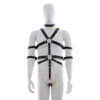 Wholesale Pants Suspenders - Men Punk Rivet Leather Harness Body Bondage Cage Bustier Corset Sculpting Belt leather Suspenders Braces Pants Sexy Male belt