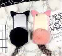 "Wholesale cute cat ear iphone case - New Cheap 3D Cartoon Cute Fur Ball koko cute Ear Cat Tail Silicon Soft Back Case Cover for iphone 6 6S iphone plus 5.5"" phone case DHL"