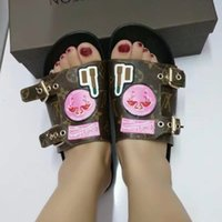Wholesale Perfect Shower - Newest Luxury Brand Women Leather Letter Slippers Rubber Outsole Babouche Flamingo Chinela Perfect Flat Plain Sandal Size35-42