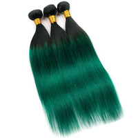 Wholesale weave bundles dyed ombre green resale online - Brazilian Virgin Hair Bundles Ombre human Hair Straight Two Tone Ombre B green Hair Extensions Straight Remy Human Bundles