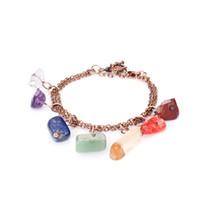 pulseiras de opala para mulheres venda por atacado-Qilmily 7 Chakra Cura Cristal Pedra Natural Pulseiras para As Mulheres Gilrs Opal Yoga Aventurina Lazuli Reiki Pulseiras Jóias YB841