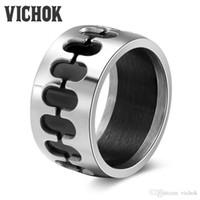 ingrosso disegni anelli freschi per gli uomini-Anello nero uomo anello in acciaio inox all'ingrosso gioielli design unico Cool Fashion 12 millimetri larghezza anelli minimalista per le donne di alta qualità VICHOK