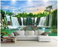 Wholesale modern feng shui resale online - custom photo wall mural wallpaper Welcoming pine waterfall feng shui landscape water wealth landscape background wall home decor