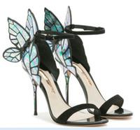 ayakkabılar kelebekler toptan satış-Sophia Webster Sandalet Gerçek Deri Kadınlar Seksi Stiletto Ayakkabı için Kelebek Yüksek Topuk Sandalet Pompalar